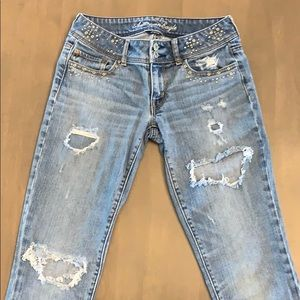 Jeans - AEO Stretch Skinny Destroyed Distressed Jean 2